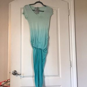 Turquoise ombré scrunch maxi